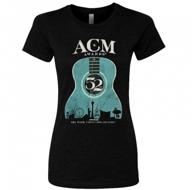 52nd Academy of Country Music Ladies Black Teal Guitar Tee