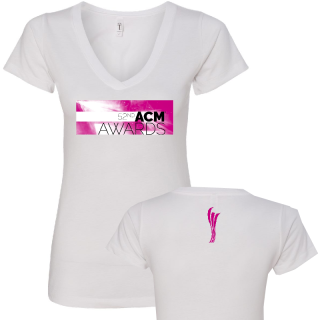 52nd Academy of Country Music Ladies White V Neck Tee