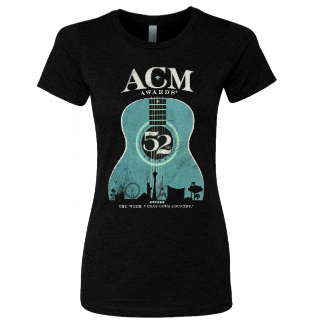 52nd Academy of Country Music Ladies Black Teal Guitar Tee