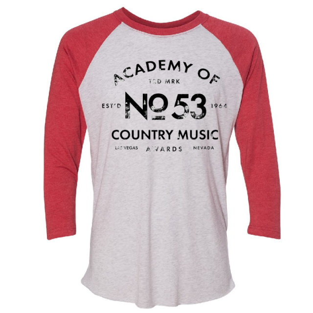 Academy of Country Heather White and Vintage Red Raglan Tee