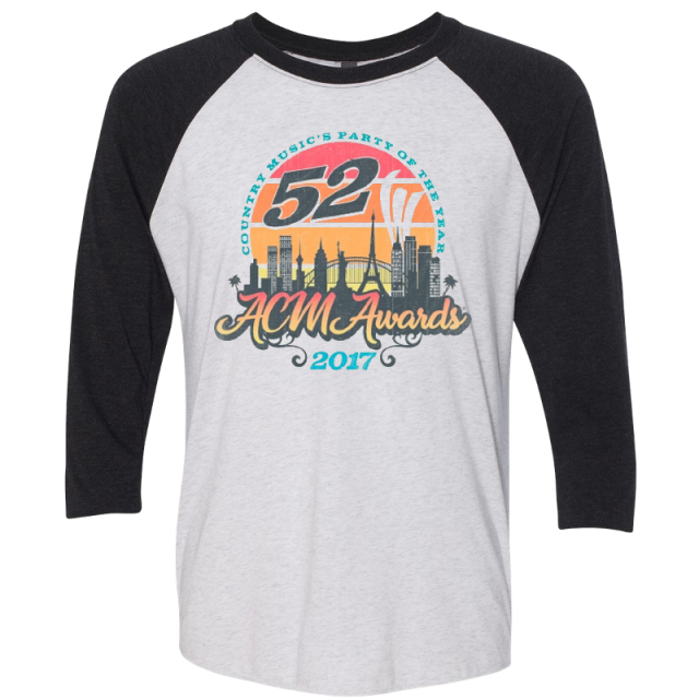 52nd Academy of Country Music Vintage White and Black Raglan Tee