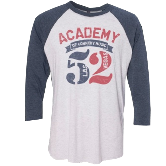 52nd Academy of Country Music White and Indigo Raglan Tee